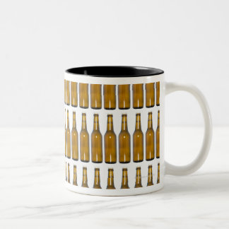 Bottles of beer on white background coffee mug