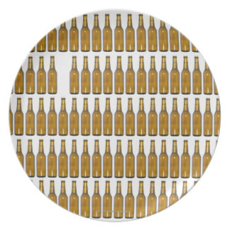 Bottles of beer on white background plate
