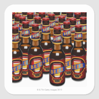 Bottles of beer side by side (Digital Composite) Square Sticker