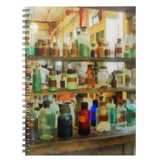 Bottles of Chemicals Green and Brown Notebook