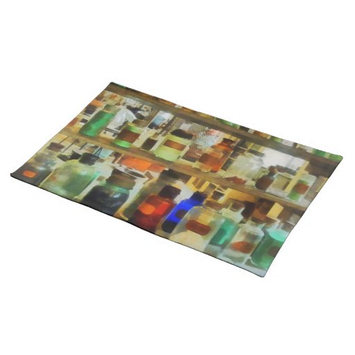 Bottles of Chemicals Green and Brown Placemat