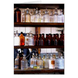 Bottles of Chemicals on Shelves Greeting Card