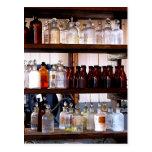 Bottles of Chemicals on Shelves Postcard
