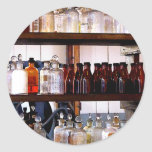 Bottles of Chemicals on Shelves Classic Round Sticker