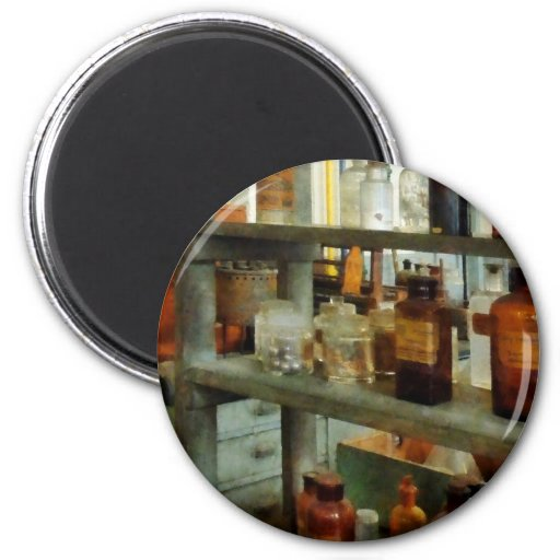 Bottles of Chemicals Tall and Short 2 Inch Round Magnet