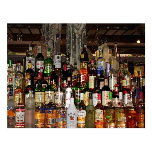 Bottles of Liquor Postcard