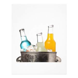 Bottles of soda and ice in a bucket letterhead
