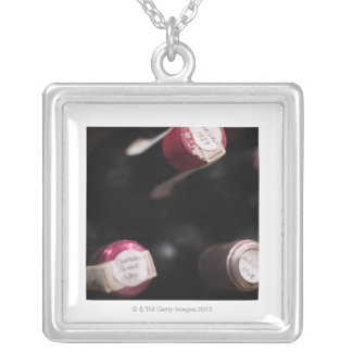 Bottles of wine, close-up, Sweden. Silver Plated Necklace