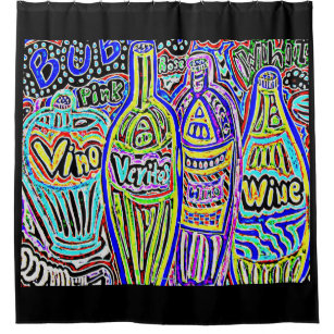 BOTTLES OF WINE SHOWER CURTAIN