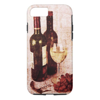 Bottles with wine, white wine glass and grapes iPhone 7 case