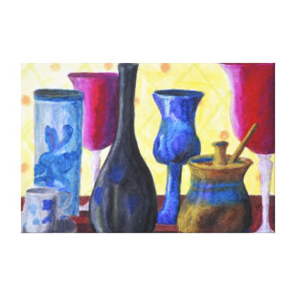 Bottlescape I - Abstract Alice Tea Party Canvas Print