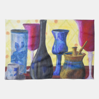Bottlescape I - Abstract Alice Tea Party Hand Towels