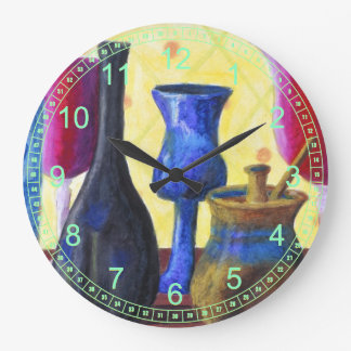 Bottlescape I - Abstract Alice Tea Party Large Clock