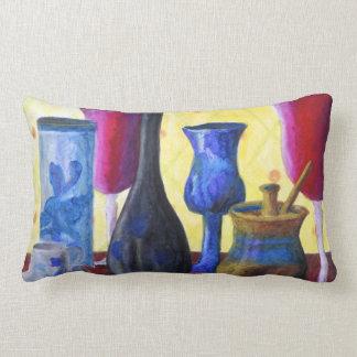 Bottlescape I - Abstract Alice Tea Party Lumbar Pillow