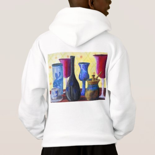 Bottlescape I, Abstract Ruby Alice Tea Party Hoodie