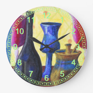 Bottlescape I - Abstract Ruby Alice Tea Party Large Clock