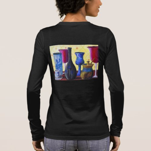 Bottlescape I, Abstract Ruby Alice Tea Party Long Sleeve T-Shirt