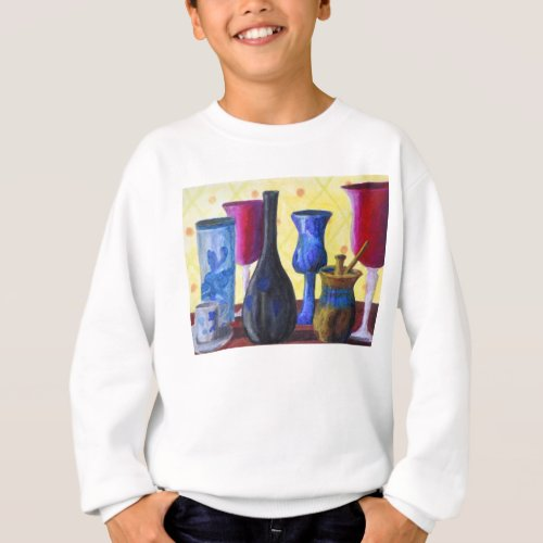 Bottlescape I, Abstract Ruby Alice Tea Party Sweatshirt