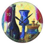 Bottlescape I - Fiesta del té abstracta de Alicia Reloj De Pared