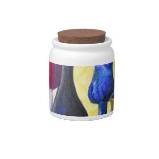 Bottlescape I - Ruby Red Goblet, Golden Honey Pot Candy Jar