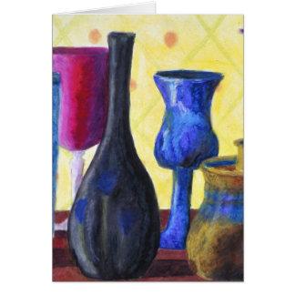 Bottlescape I - Ruby Red Goblet, Golden Honey Pot Card