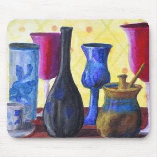 Bottlescape I - Ruby Red Goblet, Golden Honey Pot Mousepad