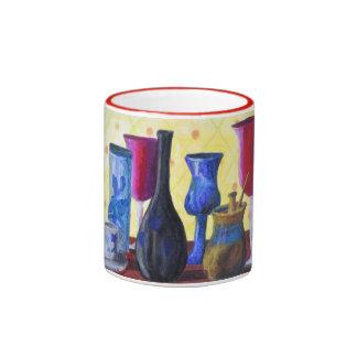Bottlescape I - Ruby Red Goblet, Golden Honey Pot Mug