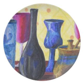 Bottlescape I - Ruby Red Goblet, Golden Honey Pot Party Plate