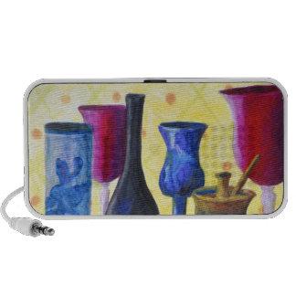 Bottlescape I - Ruby Red Goblet, Golden Honey Pot Portable Speaker