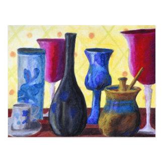 Bottlescape I - Ruby Red Goblet, Golden Honey Pot Postcard