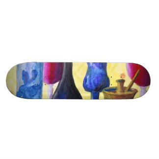 Bottlescape I - Ruby Red Goblet, Golden Honey Pot Skateboard