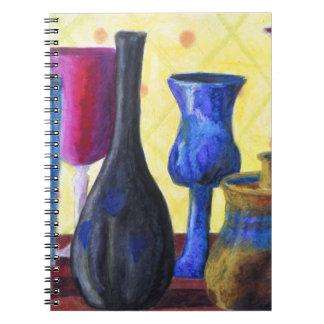 Bottlescape I - Ruby Red Goblet, Golden Honey Pot Spiral Notebook