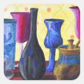 Bottlescape I - Ruby Red Goblet, Golden Honey Pot Square Sticker