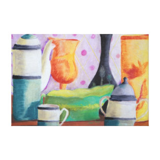Bottlescape II - Abstract Alice Tea Party Canvas Print