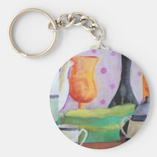Bottlescape II - Abstract Alice Tea Party Keychain