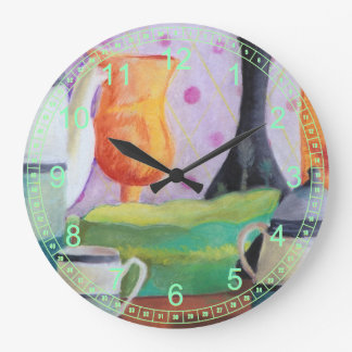 Bottlescape II - Abstract Alice Tea Party Large Clock