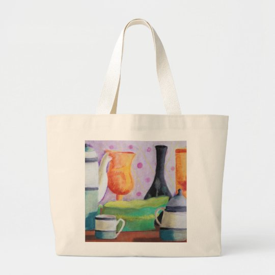 Bottlescape II - Abstract Alice Tea Party Large Tote Bag
