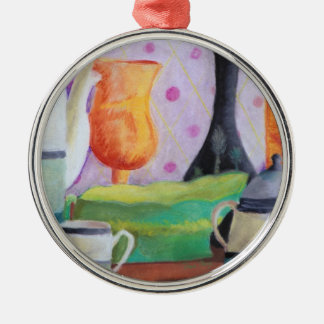 Bottlescape II - Abstract Alice Tea Party Metal Ornament