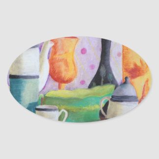 Bottlescape II - Abstract Alice Tea Party Oval Sticker