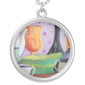 Bottlescape II - Abstract Alice Tea Party Round Pendant Necklace