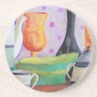 Bottlescape II - Abstract Alice Tea Party Sandstone Coaster