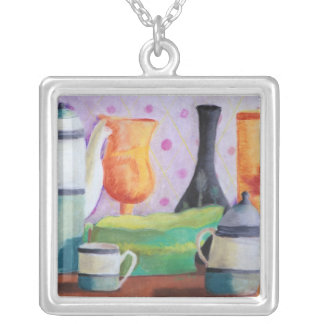 Bottlescape II - Abstract Alice Tea Party Square Pendant Necklace