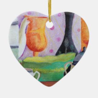 Bottlescape II - Fiesta del té abstracta de Alicia Adorno Navideño De Cerámica En Forma De Corazón