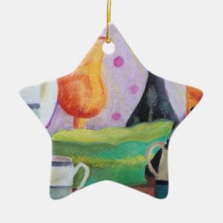 Bottlescape II - Fiesta del té abstracta de Alicia Adorno Navideño De Cerámica En Forma De Estrella