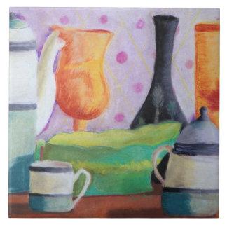 Bottlescape II - Fiesta del té abstracta de Alicia Azulejo Cuadrado Grande