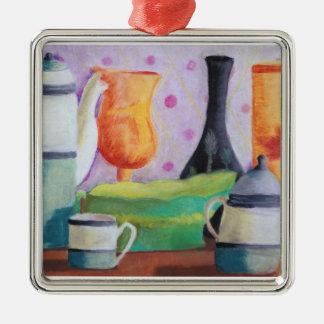 Bottlescape II - Fiesta del té abstracta de Alicia Adorno Cuadrado Plateado