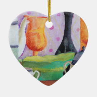 Bottlescape II - Fiesta del té abstracta de Alicia Adorno De Cerámica En Forma De Corazón