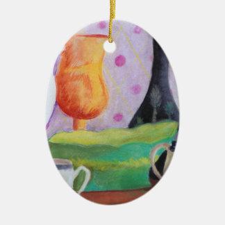 Bottlescape II - Fiesta del té abstracta de Alicia Adorno Ovalado De Cerámica