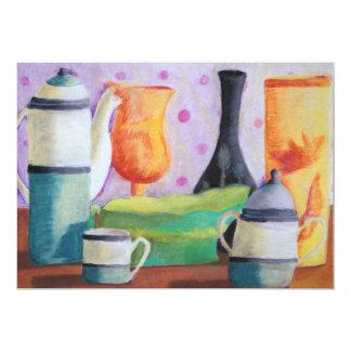 """Bottlescape II - Fiesta del té abstracta de Alicia Invitación 5"""" X 7"""""""