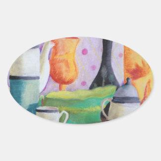 Bottlescape II - Fiesta del té abstracta de Alicia Pegatina Ovalada